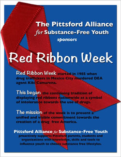 Pittsford Alliance's poster for their annual Red Ribbon Week activities.